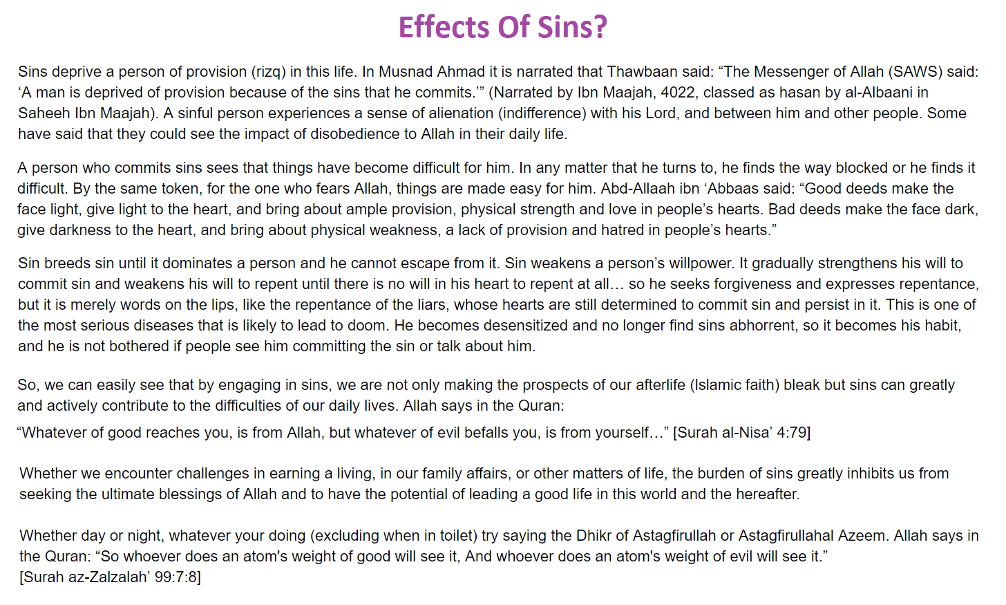 Effects Of Sins?