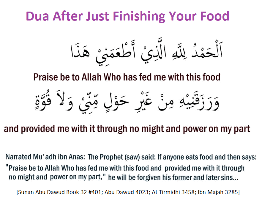 Dua After Just Finishing Your Food