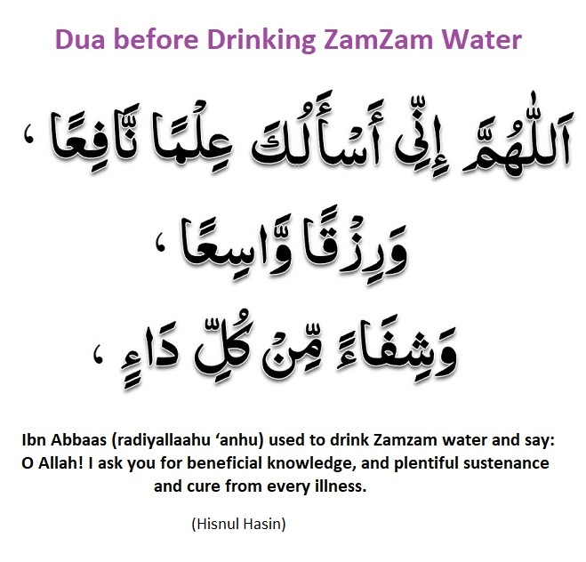 Dua before Drinking ZamZam Water