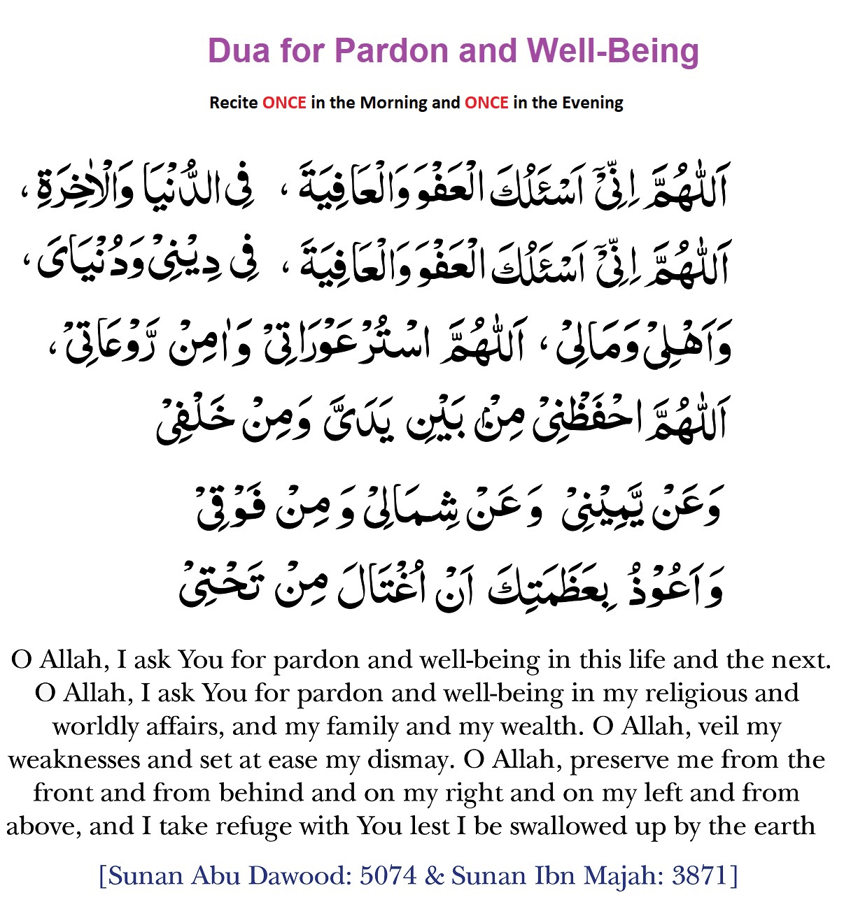 Dua For Pardon & Well-Being