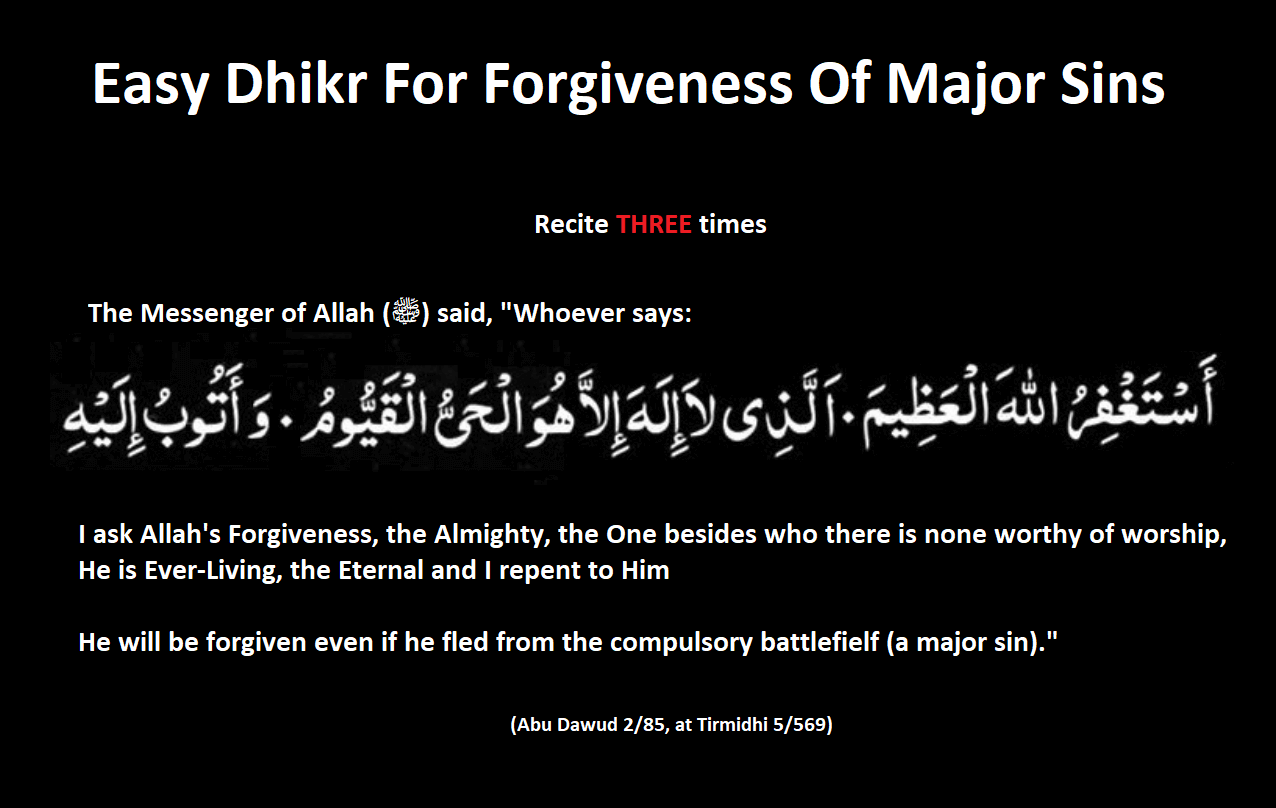 Easy Dhikr for Major Sins Forgiveness