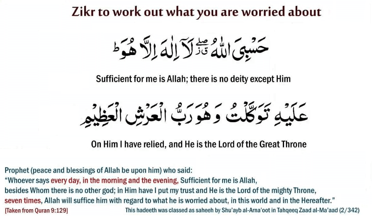 Zikr To Work Out What You Are Worried